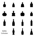Vector silhouette of bottle collection set icons