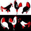 Vector silhouette of chickens Stock Photos