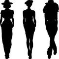 Vector silhouette of fashion girls top models set Stock Photo