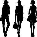 Vector silhouette of fashion girls top models set Stock Photos