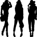 Vector silhouette of fashion girls top models set Stock Image