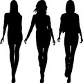 Vector silhouette of fashion girls top models set Royalty Free Stock Image