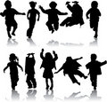 Vector silhouette girls and boys Royalty Free Stock Photography