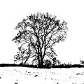 Vector silhouette of a leafless tree in a winter field on a white background