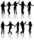 Vector silhouettes dancing man and women Royalty Free Stock Photography