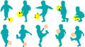 Vector silhouettes little child as football player Royalty Free Stock Photo