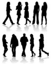 Vector silhouettes man and wom Stock Photos