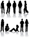 Vector silhouettes man and women Royalty Free Stock Photography