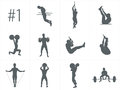 Vector silhouettes of people doing fitness and crossfit workouts Royalty Free Stock Photo