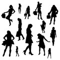 Vector silhouettes of sexy girls. Royalty Free Stock Photo