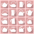 Vector silhouettes stylized flat logo teapot set isolated on pink background Royalty Free Stock Image