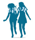 Vector silhouettes of teenage school girls running together holding hands Stock Photo