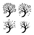 Vector silhouettes of trees in seasons isolated Royalty Free Stock Photos