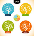 Vector  silhouettes of trees in seasons. Royalty Free Stock Photo