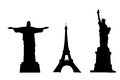 Vector silhouettes of world monuments Stock Photos