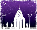 Vector silhuetas homem e mulheres na cidade da noite do fundo Foto de Stock Royalty Free