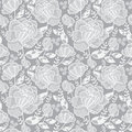 Vector Silver Grey Decorative Roses and Leaves Seamless Repeat Pattern Background. Great for handmade cards, invitations