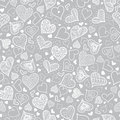 Vector Silver Grey Doodle Hearts Seamless Pattern Design Perfect for Valentine s Day cards, fabric, scrapbooking Royalty Free Stock Photo