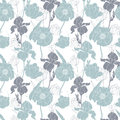 Vector silver grey poppies and tulips floral seamless repeat pattern background. Great for wedding or bridal shower Royalty Free Stock Photo