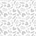 Vector silver grey tropical summer hawaiian seamless pattern with tropical plants, leaves, and hibiscus flowers on white Royalty Free Stock Photo