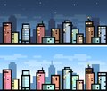 Vector simple city seamless landscape for game background - day and night version