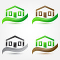 Vector simple house buildings icons real estate sym abstract symbols Royalty Free Stock Photos