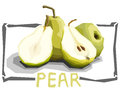 Vector simple illustration of green pears.