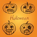 Set of wax crayon hand drawn funny spooky Halloween pumpkin with letters. Royalty Free Stock Photo