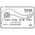Vector Single Sketch Bank Credit Card