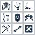 Vector skeleton icons set isolated Royalty Free Stock Images