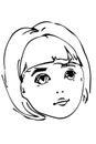 Vector sketch of a beautiful little blonde girl