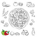 Vector Sketch Collection of Pizza Stock Image