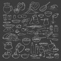 Vector sketch collection set chalk on blackboard food products, beverages and kitchen utensils. Brew tea and coffee