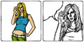 Vector sketch comics style cute woman shows ok Stock Photo