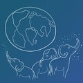 Vector Sketch with Elephant Family and the Earth Royalty Free Stock Photo