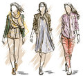 Vector sketch of fashion models illustration Royalty Free Stock Image