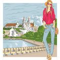 Vector sketch of a fashion stylish girl in the old city jeans jacket cap with glasses and bag trinity suburb minsk belarus Stock Photography
