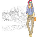 Vector sketch of a fashion stylish girl in the old jeans jacket cap with glasses and bag city trinity suburb minsk belarus Stock Photography
