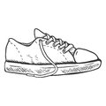 Vector Sketch Illustration - Casual Gumshoes. Side View