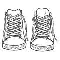 Vector Sketch Illustration - Pair of High Casual Gumshoes. Front View