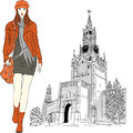 Vector sketch of the lovely fashion girl in moscow red warm clothes on background kremlin russia Stock Photos