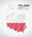 Poland vector map with flag inside isolated on a white background. Sketch chalk hand drawn illustration