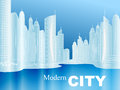 Vector sketch of a modern city with skyscrapers on the beach in blue tone Royalty Free Stock Photography