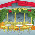 Vector sketch of the parisian cafe with christmas decorations Royalty Free Stock Image