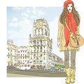 Vector sketch of a stylish girl in the city-center Royalty Free Stock Photography