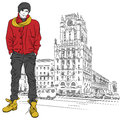 Vector sketch of a stylish guy in the city-center Stock Photography
