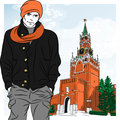 Vector sketch of the stylish guy in moscow on background spasskaya tower kremlin russia view from red square Royalty Free Stock Image