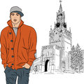 Vector sketch of the stylish guy in moscow on background spasskaya tower kremlin russia view from red square Royalty Free Stock Photos