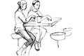 Vector sketch of two friends at a table in a cafe