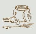 Vector sketch of Ukrainian lunch. Warm soup, bread, garlic